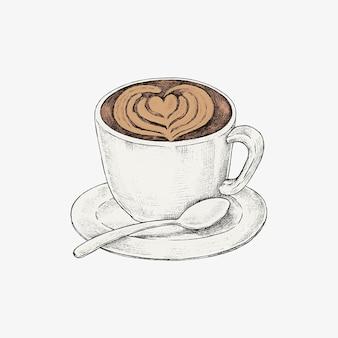 Café com leite desenhado à mão