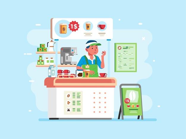 Café com pequeno stand com personagem de caixa uniformizado, cafeteira e demais equipamentos dispostos no stand. usado para pôster, imagem do site e outros