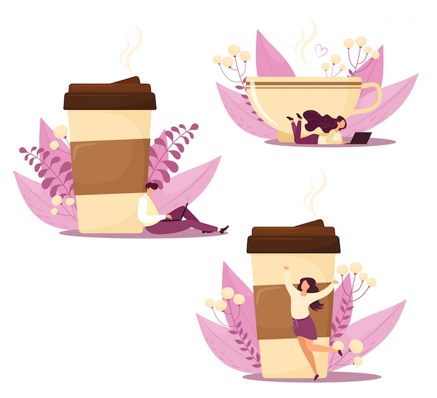 Café com personagens e decoração floral. isola em estilo simples dos desenhos animados. fundo branco.