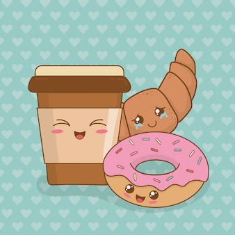 Café com personagens kawaii donuts