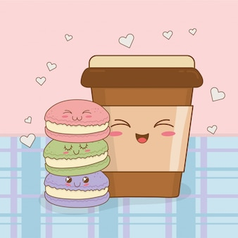 Café com personagens kawaii donuts