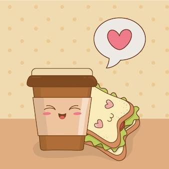 Café com sanduíche kawaii caracteres
