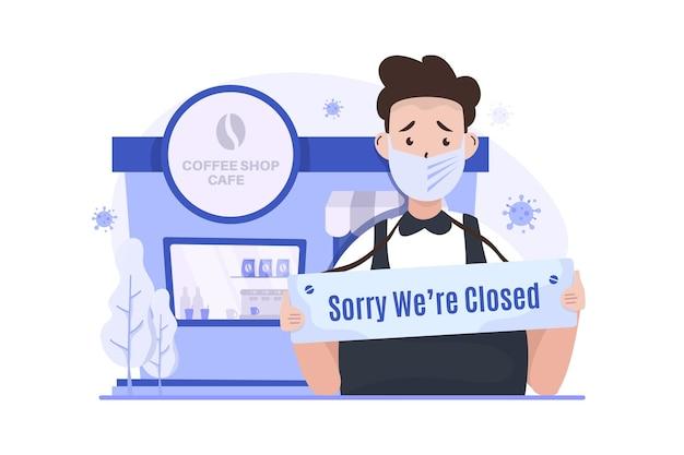 Café comercial está fechado durante ilustração da pandemia