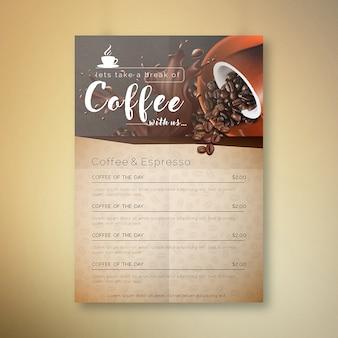 Café conosco design de cartão de menu