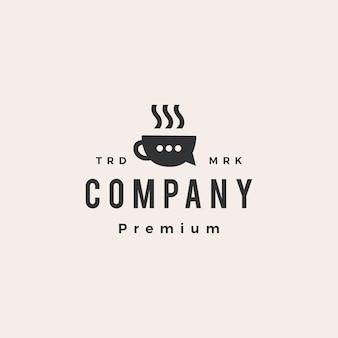 Café, conversa, bate-papo, social hipster, modelo de logotipo vintage