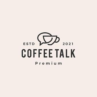 Café conversa bolha hipster logotipo vintage