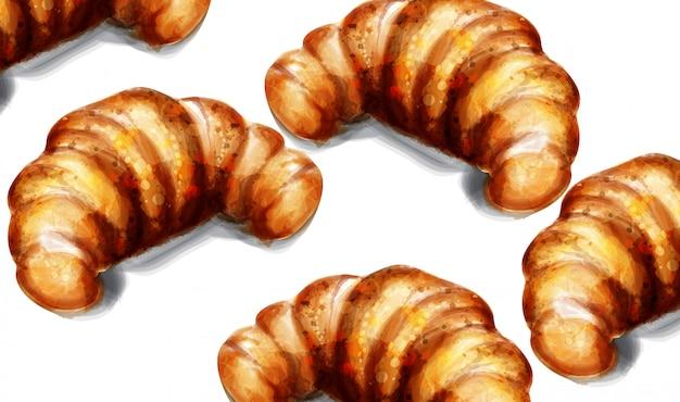 Café da manhã aquarela croissant