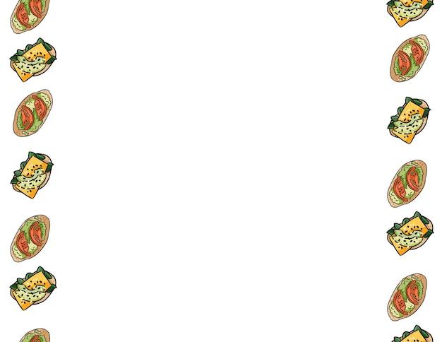 Café da manhã brindes doodles padrão de borda perfeita. tapas saborosas de bonito dos desenhos animados com tomate e pesto. simulação de banner de café ou restaurante. telha de textura de decoração de formato de carta. espaço para o seu texto