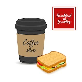 Café da manhã - café com sanduíche, bebida quente com pão frito