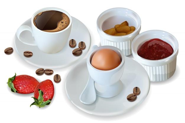 Café da manhã café e ovo