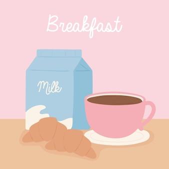 Café da manhã caixa de leite xícara de café croissant ilustração de desenho animado comida deliciosa