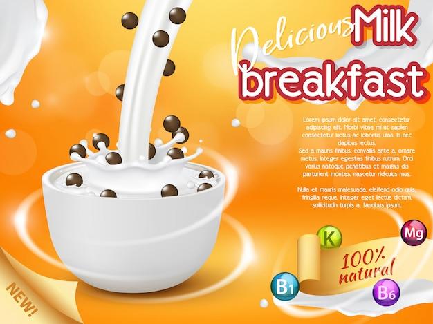 Café da manhã cereais publicidade realista ilustração vetorial