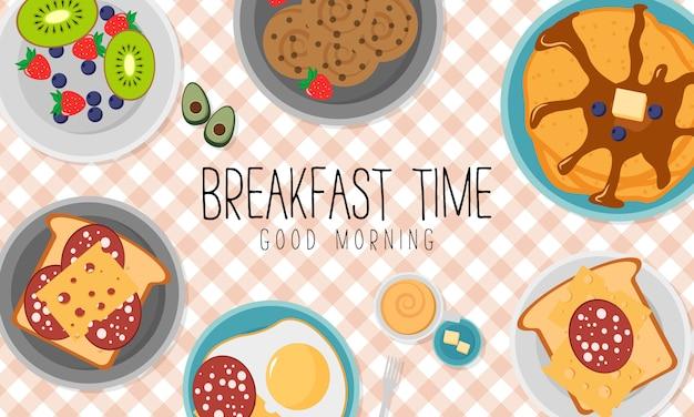 Café da manhã com frutas bacon e ovos, salsa, torradas com linguiça e queijo. conceito de café da manhã com alimentos frescos, vista superior. hora de comer. ilustração em design plano.