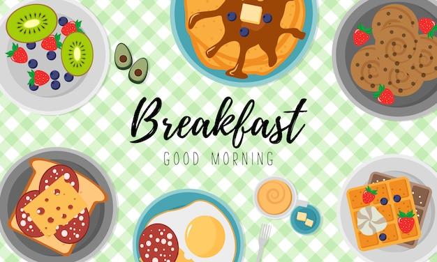 Café da manhã com frutas bacon e ovos, salsa, torradas com linguiça e queijo. conceito de café da manhã com alimentos frescos, vista superior. hora de comer. ilustração em design plano