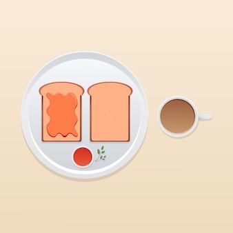Café da manhã com geléia de pão e café com leite