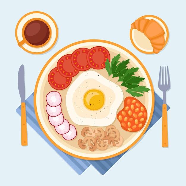 Café da manhã com ovo frito, croissant e café, ilustração vetorial