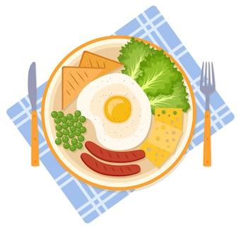 Café da manhã com ovo frito, ervilhas, salsichas, verduras, queijo e pão, ilustração vetorial