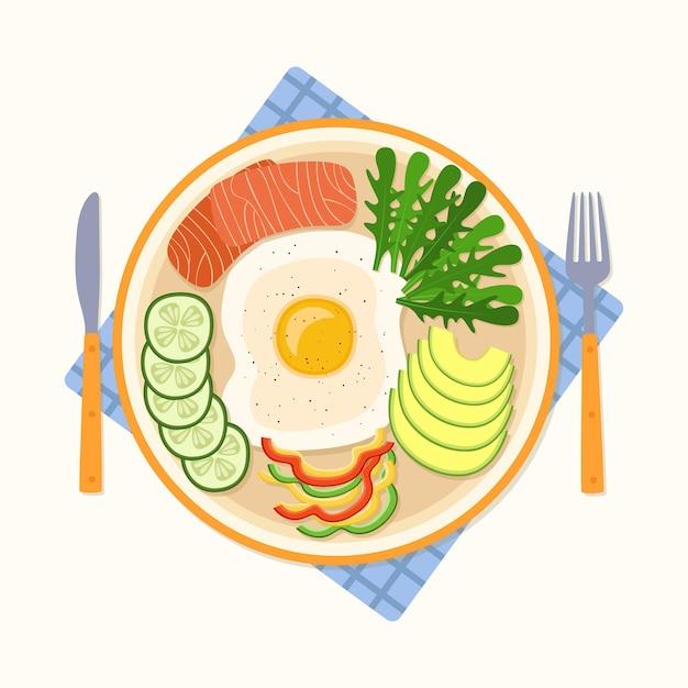 Café da manhã com ovo frito, pepino, pimenta, salmão e rúcula, ilustração vetorial