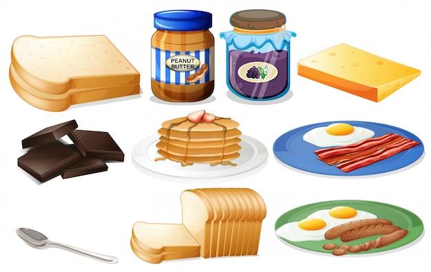 Café da manhã com pão e geléia