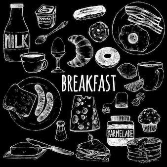Café da manhã continental de alimentos.
