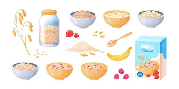Café da manhã de aveia. tigela de aveia de desenho animado, cereal de mingau cozido, conceito de comida saudável