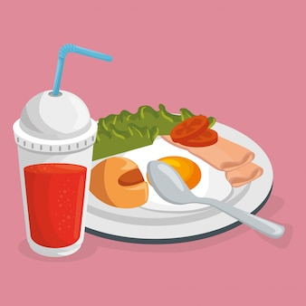 Café da manhã deliciosa comida