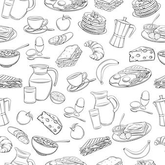 Café da manhã desenhado à mão de padrão sem emenda