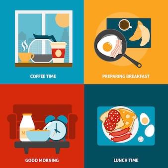 Café da manhã e almoço banner conjunto