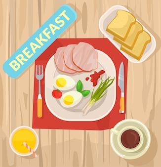 Café da manhã, ilustração plana