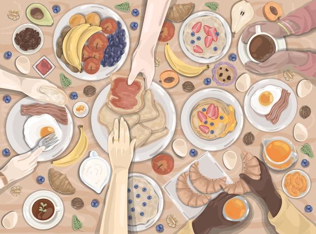 Café da manhã, jantar, hotel, conjunto de alimentos