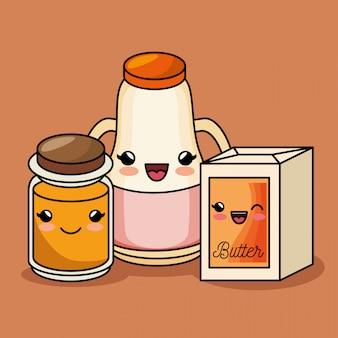 Café da manhã kawaii bonito suco manteiga mel