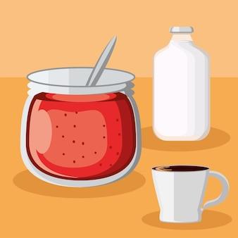 Café da manhã leite geléia xícara de café