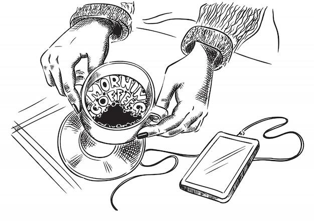 Café da manhã. mãos que prendem o copo