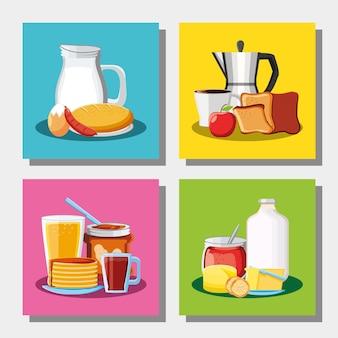 Café da manhã menu diferente com comida fresca