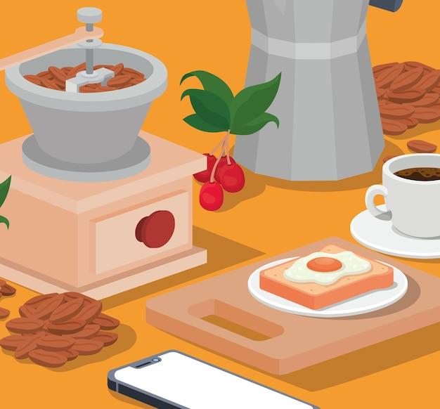 Café da manhã moedor de café e design de smartphone do tema bebida cafeína e bebidas.