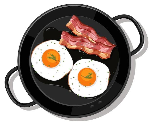 Café da manhã na panela isolado