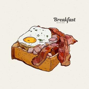 Café da manhã na torrada com ovos e bacon. esboço de desenhar mão