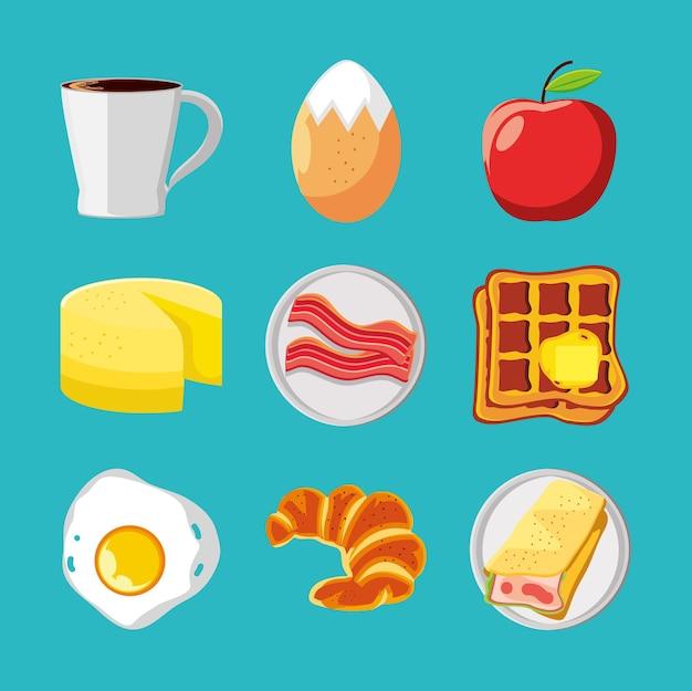 Café da manhã ovo café maçã bacon