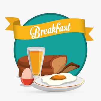 Café da manhã ovos suco pão fita verde fundo