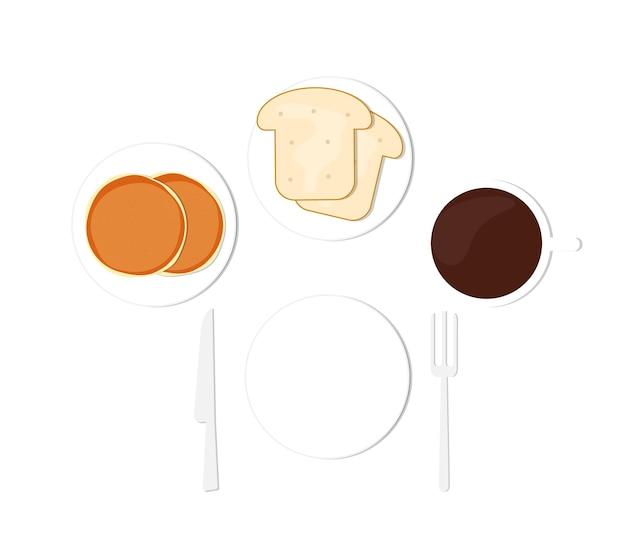Café da manhã panquecas café e pão