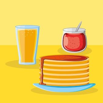 Café da manhã panquecas com suco fresco