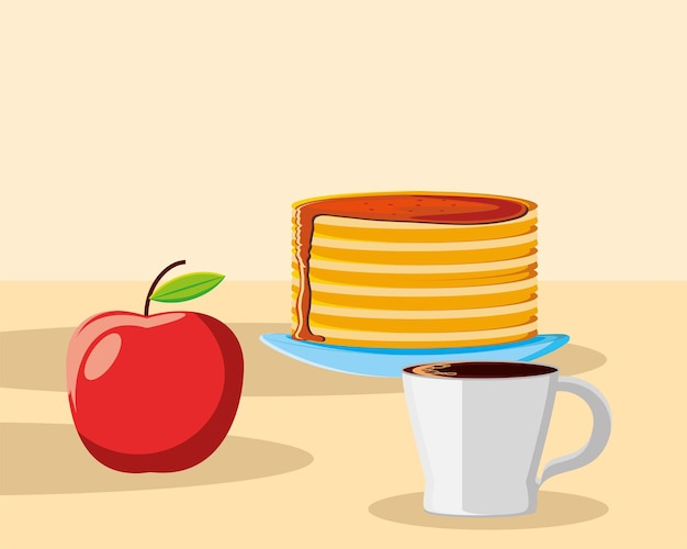 Café da manhã panquecas de maçã xícara de café