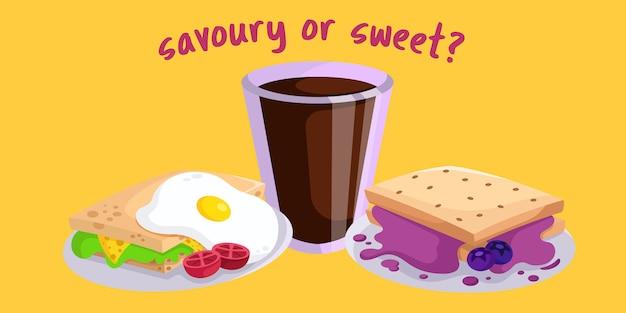 Café da manhã salgado ou doce