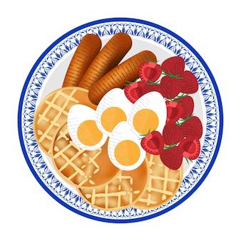 Café da manhã saudável com ovo, waffle, salsicha e morango