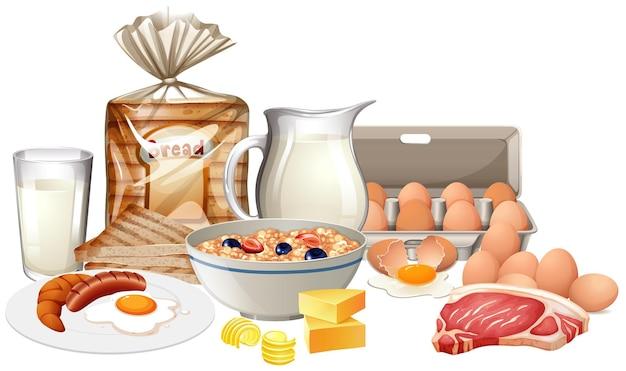 Café da manhã saudável em fundo branco