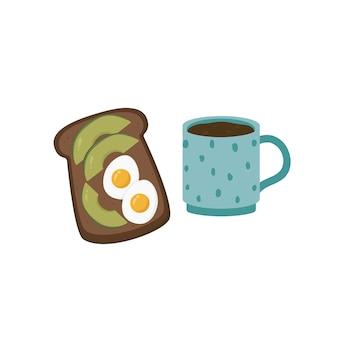 Café da manhã saudável, pão torrado com abacate e ovo frito