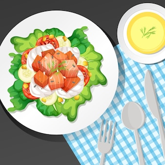 Café da manhã saudável posto na mesa