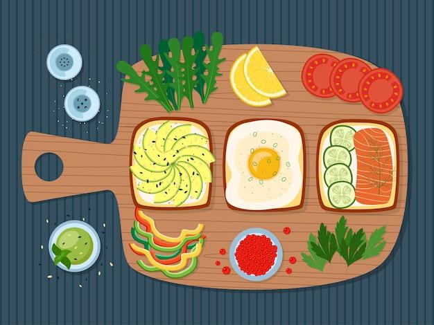 Café da manhã saudável, torradas com verduras, ovo, abacate, salmão, caviar, vegetais, ilustração vetorial