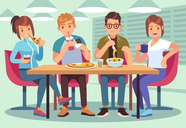 Café de amigos. pessoas amigáveis comem bebida almoço mesa diversão assentos amizade jovens rapazes reunião restaurante bar imagem plana