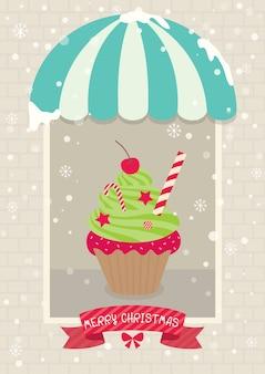 Café de cupcake de natal